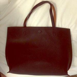 New black leather reversible bag